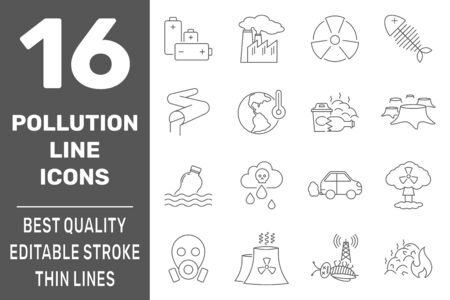 Ecology problems line icons set with pollution symbols, isolated vector illustration. Editable Stroke. EPS 10. Ilustração