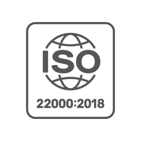 Distintivo certificato standard ISO 22000. ISO 22000:2018. Gestione della sicurezza alimentare. ENV 10.