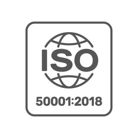 ISO 50001 sign. Energy management systems standard. Vector. EPS 10