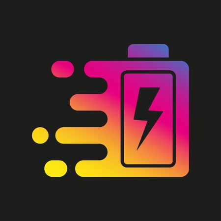 Quick and fast battery charging icon with thunder sign. Quick Charge. Vector Illustration. EPS 10.