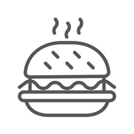 Black outlined symbol of a hamburger. Single icon burger. Isolated on white background. EPS 10.