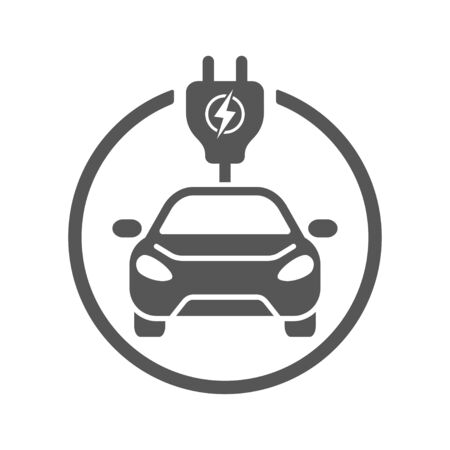 Electric Car. Flat Vector Icon. Simple black symbol on white background. EPS 10