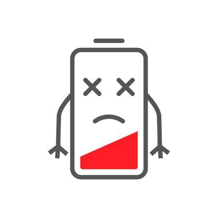 Niedrige Energie der Batterie im flachen Cartoon-Stil. Symbolbild Konzept für niedrige Batterieladung. EPS 10. Vektorgrafik