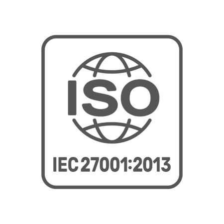 ISO 27001:2013 standard certified - Information security management. ISO 27001 sign. EPS 10.