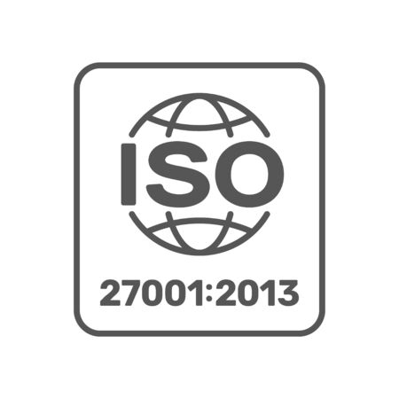 ISO 27001 certified label. ISO IEC 27001 sign. Vector illustration. EPS 10