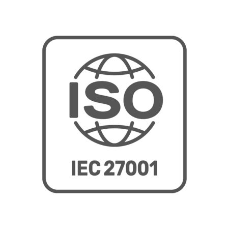 ISO 27001 certified label. ISO IEC 27001 sign. Vector illustration. EPS 10. Çizim