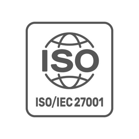ISO 27001 2013 standard certified - Information security management. ISO 27001 sign. EPS 10.