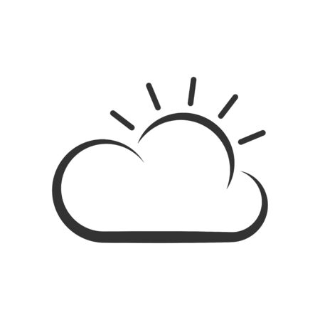 Thin line icon of weather. Sun and cloud. Vector lines illustration. EPS 10