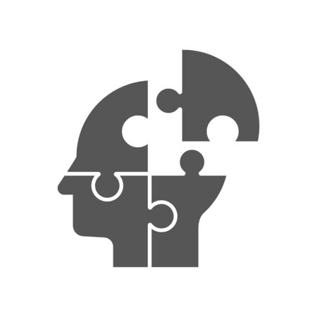 Puzzle shaped head, business concept vector design. EPS 10
