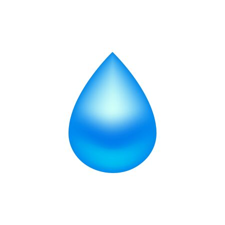 Water drop blue colored. Isolated on white background. EPS 10