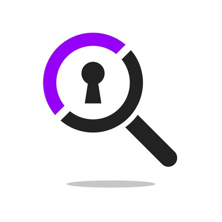 Search Icon Vector Illustration on the white background. Magnifying glass symbol with keyhole. EPS 10