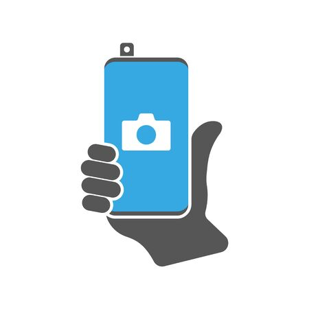 Modern smartphone with camera application. Smartphone with front retractable camera icon, communication and device, modern phone sign, vector illustration. EPS 10.