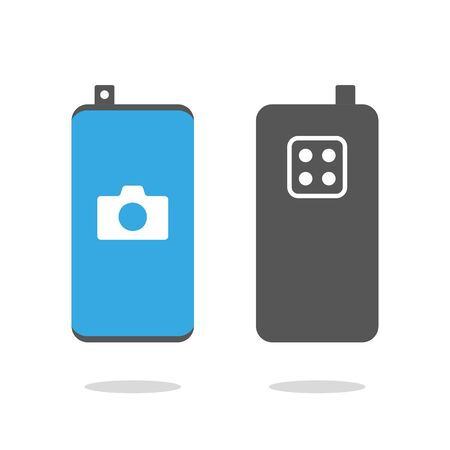 Smartphone with retractable selfie camera and four camera on the back side. Flat icon, technology and phone, modern smartphone sign, vector graphics. EPS 10.