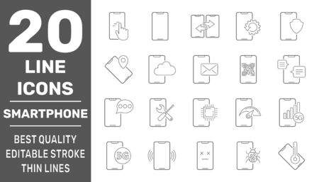Modern smartphones vector icons. Linear pictograms collection. Modern smartphones vector icons set. Editable Stroke. EPS 10.