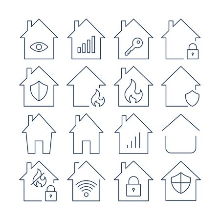 Houses vector icons set. Set of icons in the form of houses. Lines icons. EPS 10