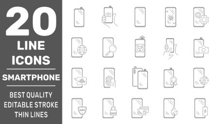 Smartphones icon set. Collection high quality outline technology pictograms in modern line style. Symbols for web design and mobile app on white background. Editable Stroke. EPS 10