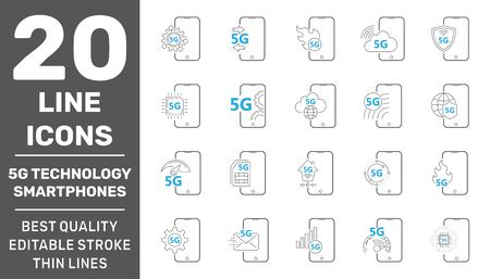 5G technology in smartphones. Minimal set of smartphone line icons. Editable Stroke. EPS 10 Ilustração