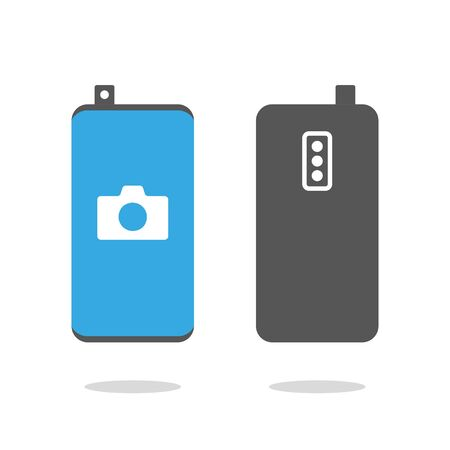 Frameless smartphone with retractable front camera and camera icon on the screen. Smartphone with front retractable camera. Modern phone sign, vector graphics. EPS 10 Ilustração