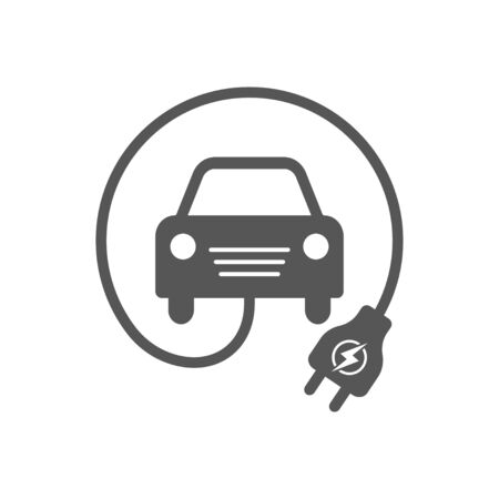 Electrocar. Simple Related Vector Icon for Video, Mobile Apps, Web Sites, Print Projects and Your Design. Black Flat Illustration on White Background. EPS 10. Ilustração