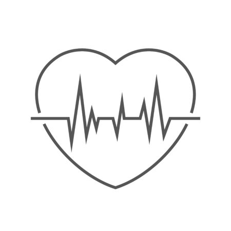 Image of a heart with a pulse. Linear vector icon. EPS 10