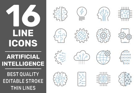 Set of Artificial Intelligence AI related Vector Line Icons. Editable Stroke.