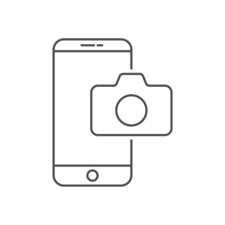 Mobile phone  camera line icon. Outline vector sign, linear style pictogram isolated on . Smartphone camera symbol, logo illustration. Editable Stroke. Ilustração