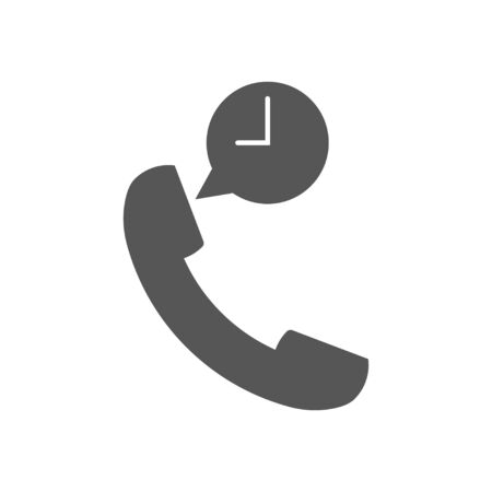 Phone and time vector icon or sign. Black flat icon. EPS 10 Ilustração