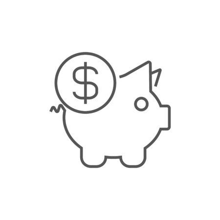 Piggy bank. Bank money box, money savings. Vector illustration. Vector line icon. EPS 10