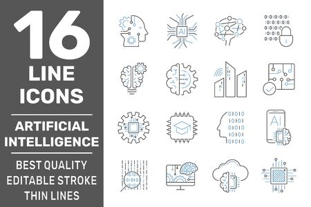 Artificial intelligence line icons. Set of brain, robot, ai, head, technology and more. Editable stroke. EPS 10
