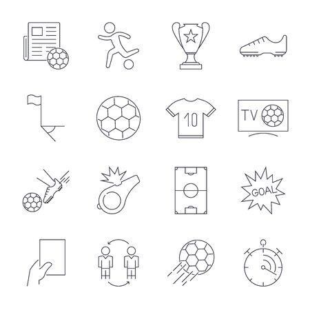 Soccer Icons set. Editable Stroke Çizim
