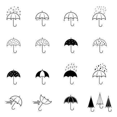 Set of vector red umbrellas Illustration