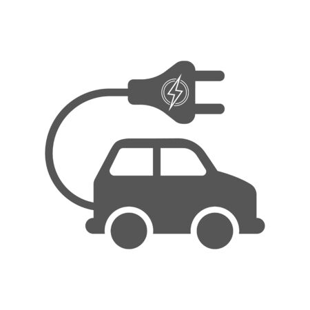 Electro car vector icon on white background. Flat vector electro car icon symbol sign from modern transportation collection for. Mobile concept and web apps. Ilustração