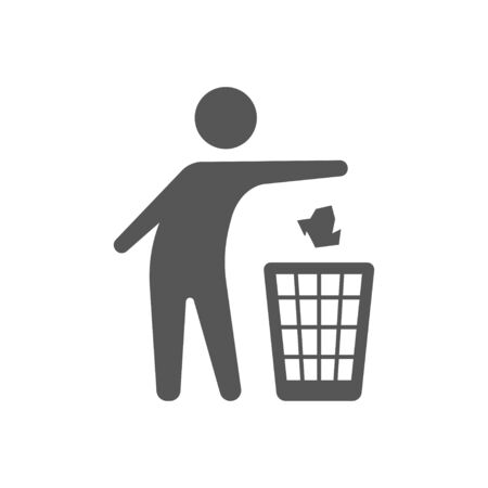 Throwing trash vector icon on white background. Flat vector throwing trash icon symbol sign from modern behavior collection for. Mobile concept and web apps.