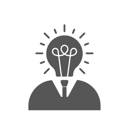 Businessman with lightbulb head flat icon on white background. EPS 10 Ilustração