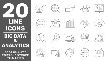 Big data and analytics icons set. Contain icons as Chart, Report document, Graph Data analytics, Presentation chart and Communication, Global Statistics, Checklist report. Editable Stroke. EPS 10