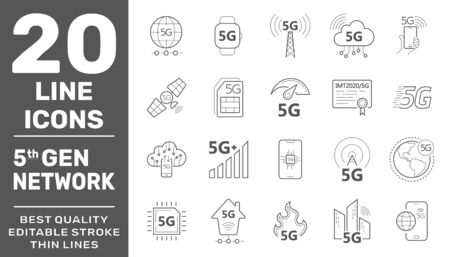 5G internet line icons set. Internet mobile safety wireless 5g signal telecommunication new technology vector symbols. Editable Stroke. EPS 10