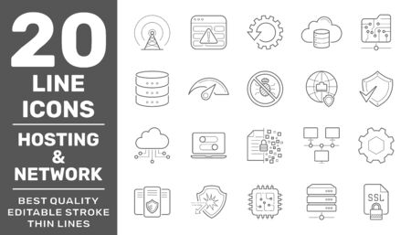 Network Hosting and Servers line vector Icons. Editable Stroke.