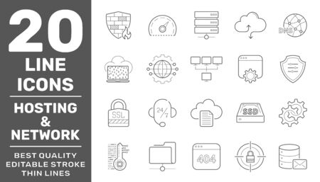 Web hosting and Network icons set. Technology outline icons pack. Perfect thin line vector icons for web design and website application. Editable Stroke. EPS 10 일러스트