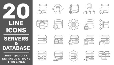 Collection of Servers and Database liner icons. Detailed vector icons. Servers, databases, network devices and cloud computing concept. Editable Stroke. EPS 10