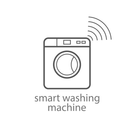 Smart washing machine icon. Smart kitchen appliances. Internet of things concept with wireless connection. Modern design. Vector illustration. EPS 10