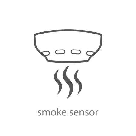 Smoke alarm system vector linear symbol isolated on white background. Vector Illustration. EPS 10 일러스트