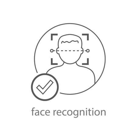 Face recognition icon vector. Facial Identification Illustration. Faces Detection Logo. Scan Man Face Symbol. EPS 10