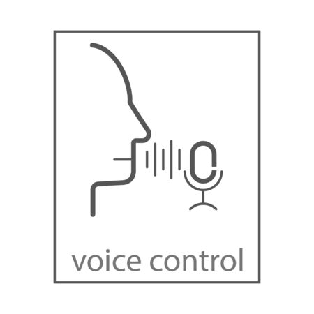 Voice identity vector line icon. Recognize audio system sign. Voiceover biometric symbol. Silhouette of man and sound wave with mic pictogram. Vector illustration for various design needs. EPS 10 Ilustração