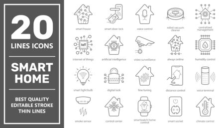 Set of Smart House related vector line icons. Contains such icons as Smart Lock, Robot Vacuum Cleaner, Camera, Light Settings, Humidity Control and more. Editable Stroke