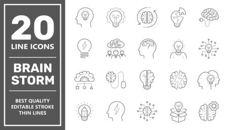 Set of brainstorm icons such as artificial light, brain, lightbulb, creative, creativity, knowledge, brainstorming, brainstorm. Editable Stroke. EPS 10. Vectores
