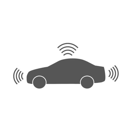 Autonomous car icon isolated on white background. Self-driving vehicle pictogram. Smart car sign with gps signal. Vector. EPS 10.