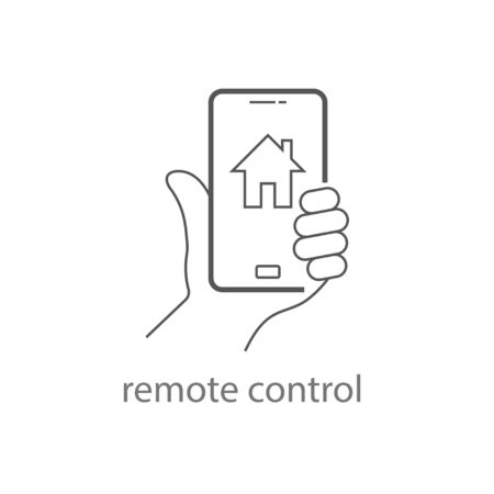 Hand Holding Mobile Phone Controls Smart Home. Remote control icon. EPS 10.