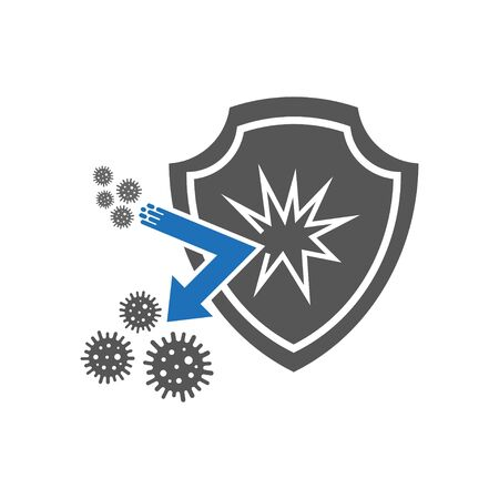 Bacteria shield icon. Simple illustration of bacteria shield vector icon for web design isolated on white background. Flat style. Virus protection icon. EPS 10. Vectores