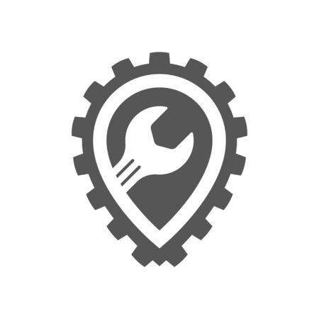 Auto service point, automobile repair service, spare parts store. Vector logo template. EPS 10. 矢量图像