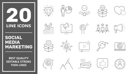 Social Media Marketing icons, SMM icons set collection. Includes simple elements such as Content, Video Marketing, Ad Targeting, Audience Marketing, Analytics. Editable Stroke. EPS 10 Vectores